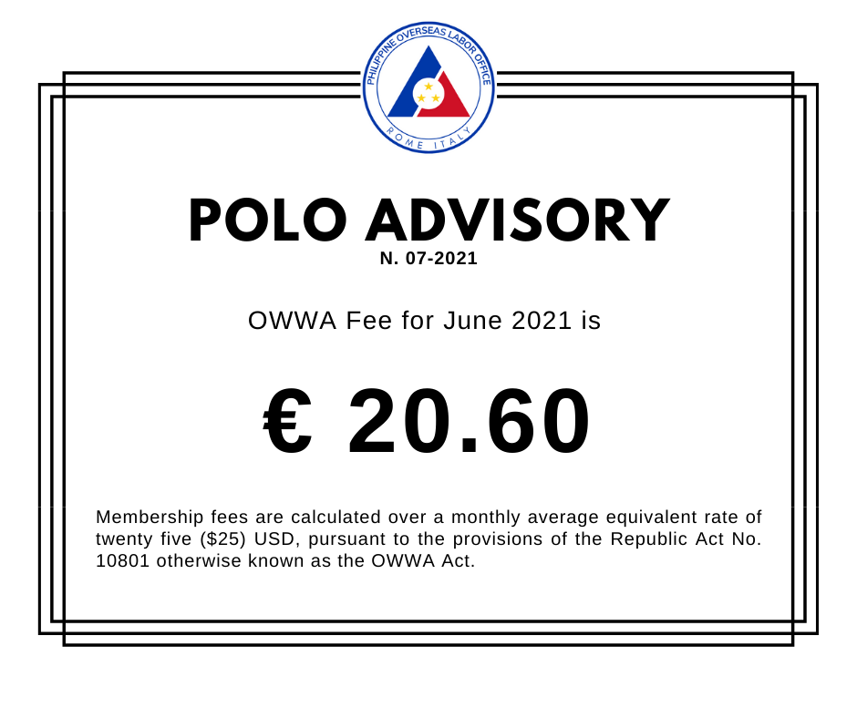 POLO Advisory 2021 No. 07 – OWWA Membership Fees for June 2021