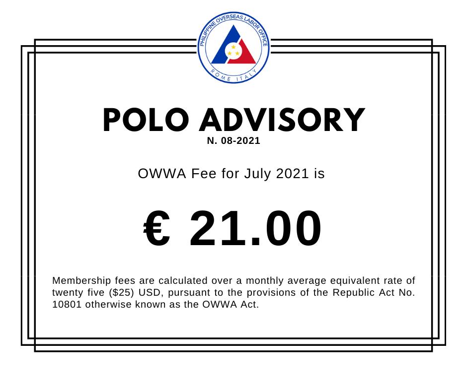 POLO Advisory No. 8 – OWWA Membership Fees for July 2021