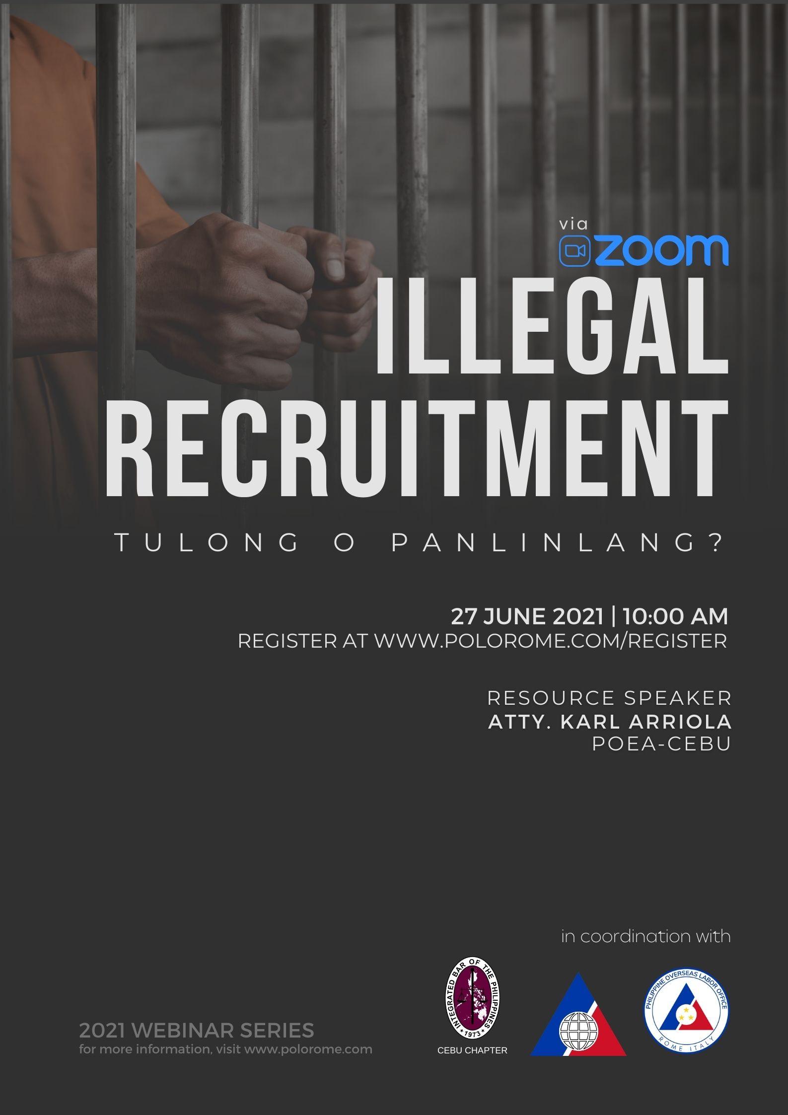 Webinar Series – Illegal Recruitment: Tulong o Panlinlang – with IBP Cebu Chapter
